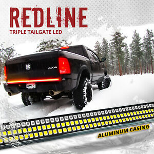 60 Triple Led Tailgate Bar Sequential Turn Signal Red Truck Backup Brake Light