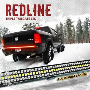 48 Triple Led Tailgate Bar Sequential Turn Signal Red Pickup Rear Brake Light
