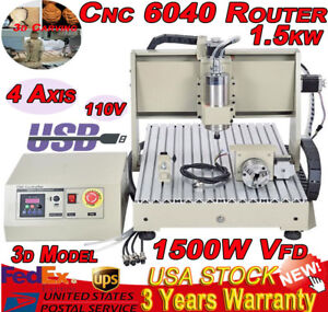 Usb Four 4 Axis 6040 1 5kw Spindle Cnc Router Engraver Engraving Milling Machine