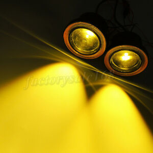 2x 3 Yellow Car Fog Light Cob Led Projector With Yellow Angel Eye Halo Ring Drl