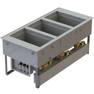 Vollrath 3667301d Top Mount 3 pan Electric Drop in Hot cold Well