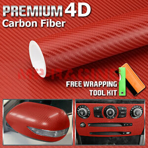 12 X60 4d Gloss Red Carbon Fiber Vinyl Wrap Sticker Bubble Free Air Release