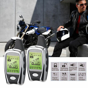 2 Way Anti theft Motorcycle Bike Alarm System Lcd Security Remote Engine Start