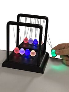 Newton s Multi color Light Up Cradle W Led Glass Balls And Mirror For