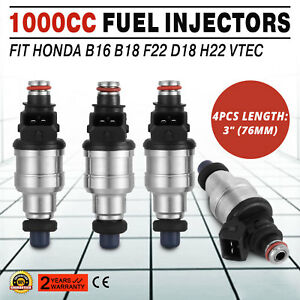 1000cc Fuel Injectors For Honda B16 B18 B20 D16 D18 F22 H22 H22a Vtec Free Clips