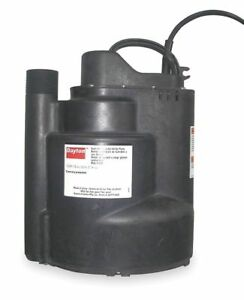 Dayton 1 3 Hp Submersible Sump Pump Vertical Switch Type Polypropylene Base