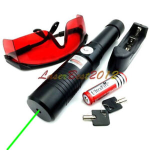 Gx1 532nm Adjustable Focus Burning Green Laser Pointer Battery charger goggles