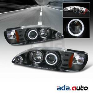 1994 1998 Ford Mustang led Halo Projector Black Headlights Pair