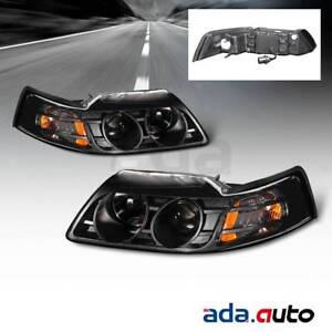 1999 2004 Ford Mustang Coupe convertible gt projector Black Headlights Set