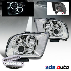 2005 2009 Ford Mustang ccfl Halo Projector Headlights led Fog Lamps