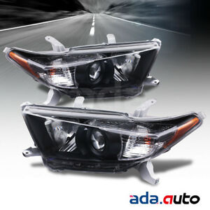 For 2011 2013 Toyota Highlander Factory Style Black Headlights Lamps Set