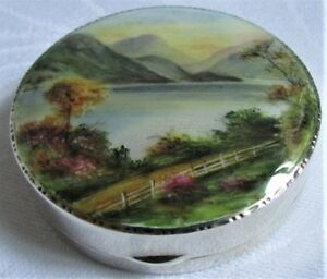 Antique English Sterling Silver Hallmarked 1929 Scenic Enamel Compact Ex Cond