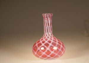 Victorian Northwood Glass Cranberry Opal Lattice Carafe Water Bottle C 1890