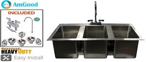 3 Compartment Stainless Steel Drop Sink With Goose Neck Faucet Nsf