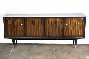 Beautiful French Art Deco Buffet Sideboard In Macassar Ebony And Sycamore Inte