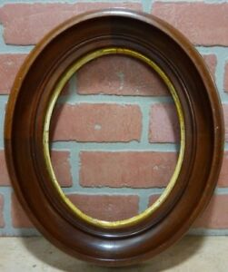 Antique Oval Deep Thick Wood Frame Detailed Old Picture Mirror Decorative Arts