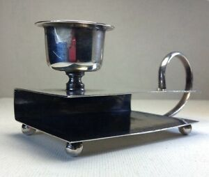 C1930 Sterling Silver Candle Holder Double Match Box Holder Chamber Stick 3 6