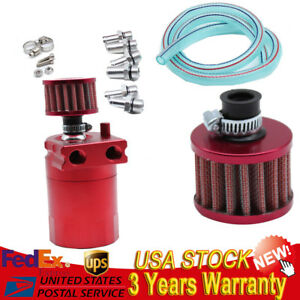 Red Oil Reservoir Catch Can Tank Kit Breather Filter Baffled T 6061 Aluminum Us