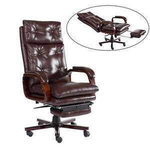 High Back Reclining Napping Office Chair Ergonomic W Footrest Pu Padded Seat