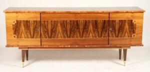 Luxe French Art Deco Buffet Sideboard In Blonde Macassar Ebony
