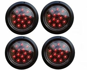4 Led Round Flush Mount Stop Turn Tail Lights Red 5 3 8 Clear Lens 2 Pairs D