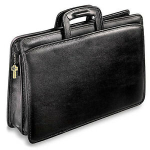 The University Collection Double Gusset Top Zip Tri pocket Portfolio 2296 Blk