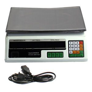 Digital Deli Weight Scale Price Computing Food Produce 60lb Acs 03