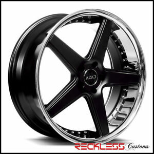 20 Azad Az008 Black Concave Staggered Wheels Rims Fits Ford Mustang Gt