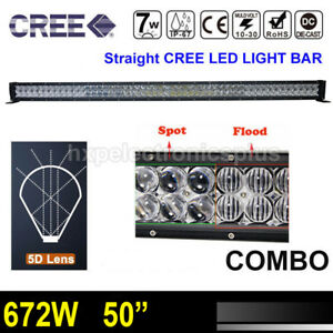 50inch 672w Rgb Cree Led Light Bar Combo Offroad Truck Jeep Ford 4wd Lamp 52