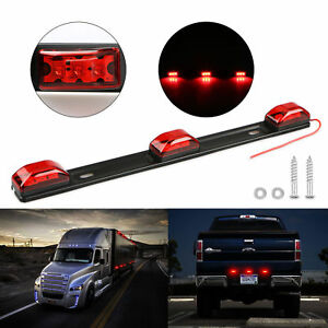 14 Red Clearance Id Bar Marker Light 3 Light 9 Led Trailer Stainless Steel New