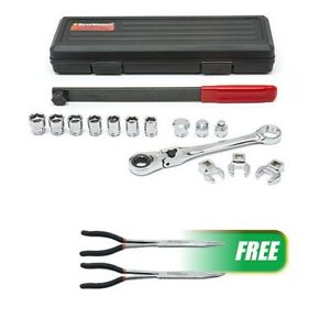 Serpentine Belt Tool Set W locking Flex Head Ratcheting Wrench W free 2pc Double