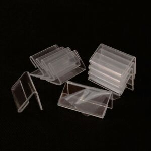 50pcs Mini Sign Display Holder Price Acrylic Card Tag Label Counter Top Stand