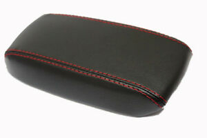 Fit 06 11 Honda Civic Black W red Stitch Vinyl Leather Console Lid Armrest Cover