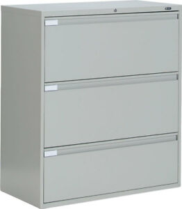 Lot Of 9 Metal 3 Drawer Lateral File Cabinets Office Furniture