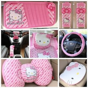 Hello Kitty Pink Car Visor Seat Belt Steering Wheel Covers Cushion Pillows