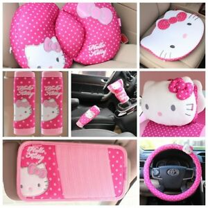 Hello Kitty Rose Car Handbrake Stall Visor Steering Wheel Covers Cushion Pillows