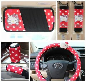Hello Kitty Red Car Seat Belt Cd Visor Handbrake Stall Steering Wheel Covers