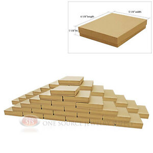 Large 50 Brown Kraft Cotton Filled Jewelry Gift Boxes 6 1 8 X 5 1 8 X 1 1 8 h