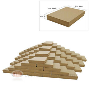 Large 100 Brown Kraft Cotton Filled Jewelry Gift Boxes 7 1 8 X 5 1 8 X 1 1 8 h