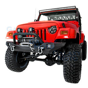 Rock Crawler Front Bumper Winch Plate 2pcs Led Light For 97 06 Jeep Wrangler Tj