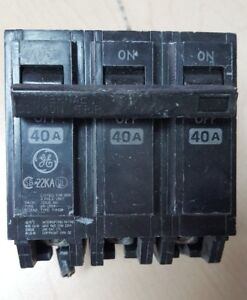 Ge Type Thhqb Circuit Breaker 3 Pole 40 Amp