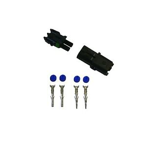 2x 2 Pin Delphi Weather Pack Connector 12awg Terminals And Seals 2 Sets