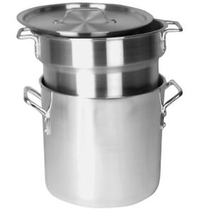 Double Boiler Aluminum 3 Piece Set Nsf Listed Cook Commercial Boil 20 Qt