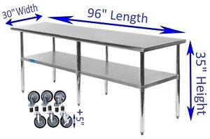 30 X 96 Stainless Steel Work Table W Casters Food Prep Nsf Utility Bench