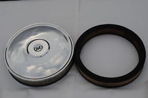 Chrome Air Cleaner For 2 And 4 Barrel Carbs With 2 Filters Made In The Usa