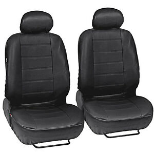 Black Leatherette Car Seat Covers Front Pair Set Of 2 Faux Leather Upholstery