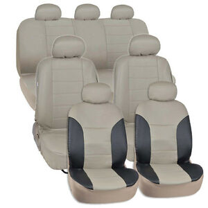 Van Suv Seat Covers 3 Row 2 Tone Color Pu Leather Covers Black Beige