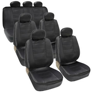 Van Suv Seat Covers 3 Row Pu Leather Side Armrest Airbag Compatible Black