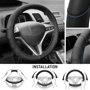 Synthetic Leather Steering Wheel Cover Black W Blue Stitching Sport Grip Small