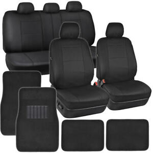 Black Pu Leather Seat Covers For Car Suv Auto W Front Rear Carpet Floor Mats